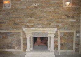 Стена из ДК с встроенным камином, обр-е ПС