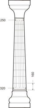Колонна коническая с каннелюрами - чертёж